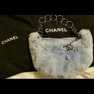 Authentic CHANEL sky blue fur chain hobo purse
